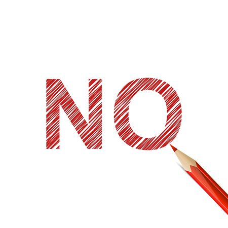 negation: NO word drawn with red pencil on white background. Refusal, denial and negation Illustration