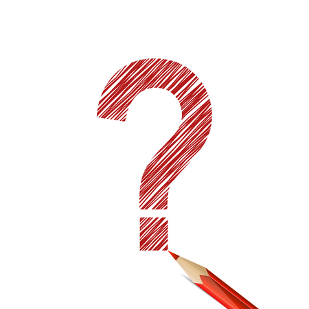Question mark drawn with red pencil on white background. Doubt and hesitation Stock Illustratie