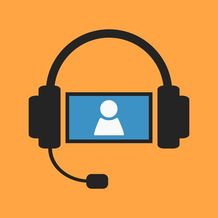 video chat: Headset and screen with person sign as video chat illustration on orange background