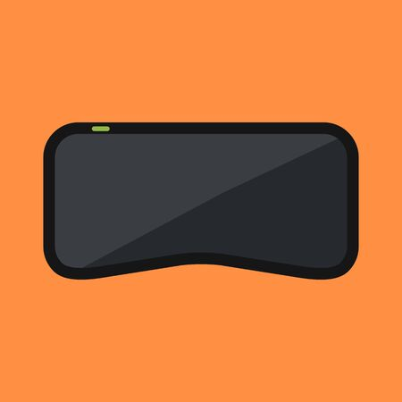 virtual reality simulator: Virtual reality glasses. Black headset on orange background. Augmented reality device