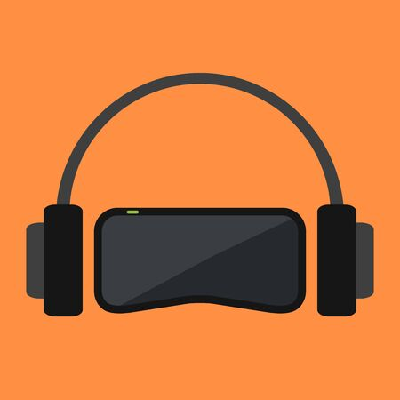 virtual reality simulator: Virtual space equipment. VR-glasses and headphones on orange background