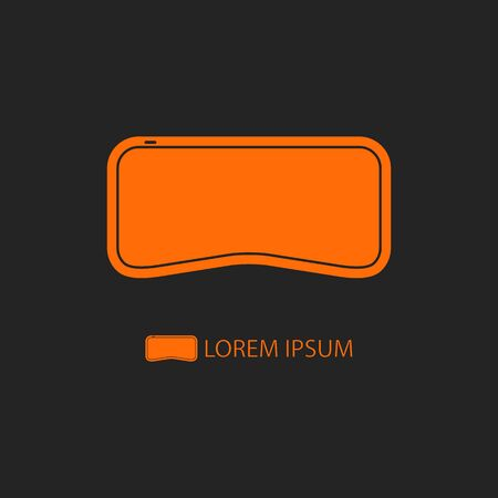 glasses: Logo of virtual reality.  Oranhe flat style VR-glasses on black background