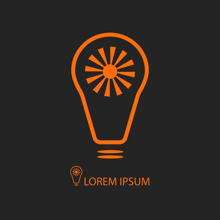 source: Orange bulb with sun as logo on black background. Idea of eco-friendly source of energy Illustration