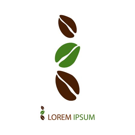 green coffee beans: Three brown and green coffee beans as logo. Illustration on white background