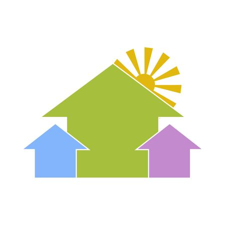 housing estate: Housing estate. Three colorful houses with sun behind. Construction, real estate and mortgage sign Illustration
