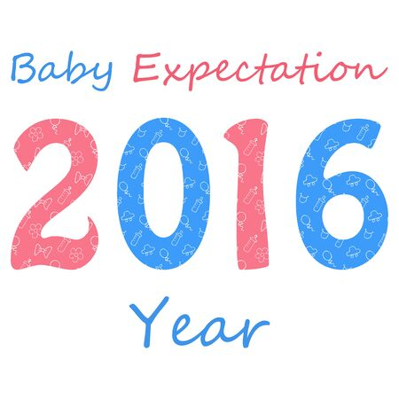erwartung: Baby expectation Year. 2016 designed in pink and blue colors with boy and girl patterns. Doodle style Illustration