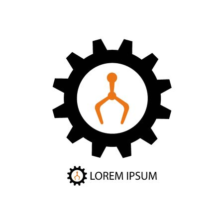 tooling: Black gearwheel and orange robot hand as industry logo on white background