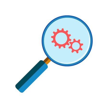 handglass: Blue magnifying glass with red gearwheels on white background, flat style. Service search Illustration