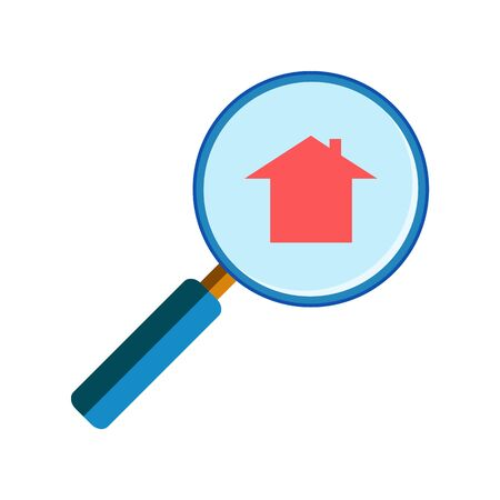handglass: Blue magnifying glass with red house sign on white background, flat style. Real estate concept, house search