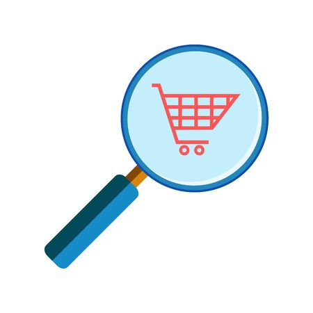handglass: Blue magnifying glass with red shopping cart on white background, flat style. Shop search, marketing research Illustration
