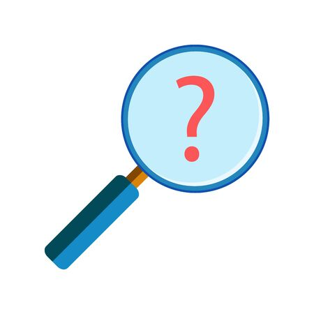 handglass: Blue magnifying glass with red question mark on white background, flat style. Assistance or help search, info request