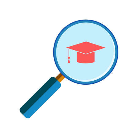 handglass: Blue magnifying glass with red graduation cap on white background, flat style. School and university search Illustration