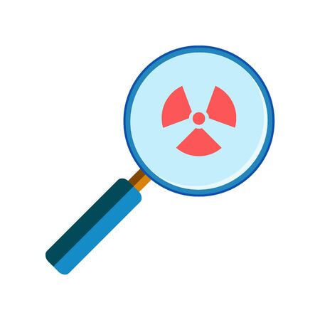 handglass: Blue magnifying glass with red radiation sign on white background, flat style. Danger, virus search