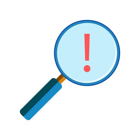 handglass: Blue magnifying glass with red exclamation mark on white background, flat style. Risk and warning