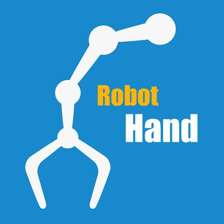 tooling: Flat style white robot hand on blue background. Modern industry with machines Illustration