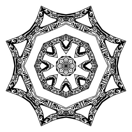 handdrawn: Black and white zentangle style star pattern, hand-drawn design