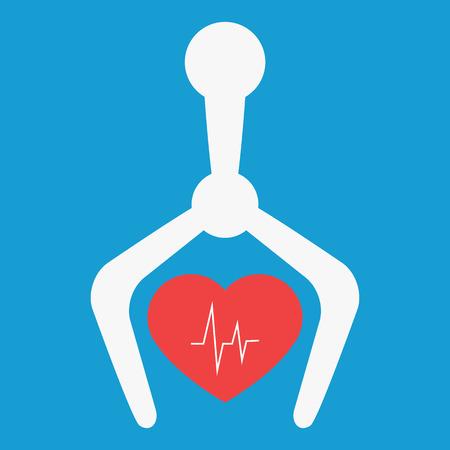 cardiac: Robot using in medicine. Cardiac surgery. Robot hand holding red heart