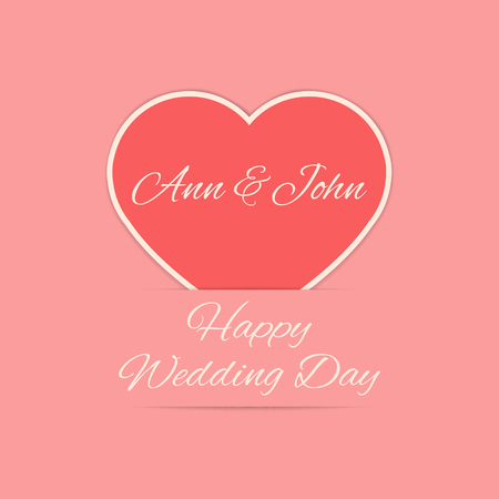 Happy Wedding Day Card In Red Colors Newly Weds Names On The Heart Stock