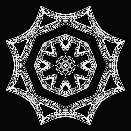 White zentangle style star pattern, hand-drawn design on black background Illustration