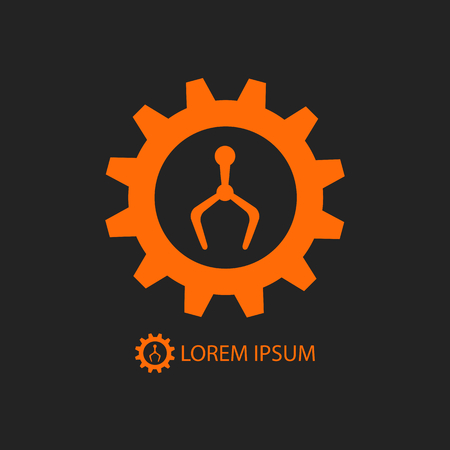 tooling: Orange gearwheel and robot hand as industry logo on black background