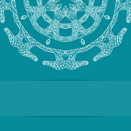 copy space: Turquoise blue card with zentangle style pattern and copy space