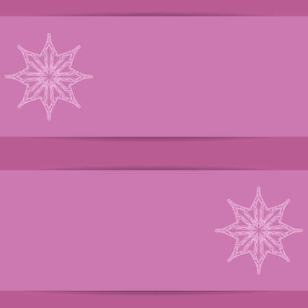copy: Pink banners  with ornate snowflakes pattern and copy space