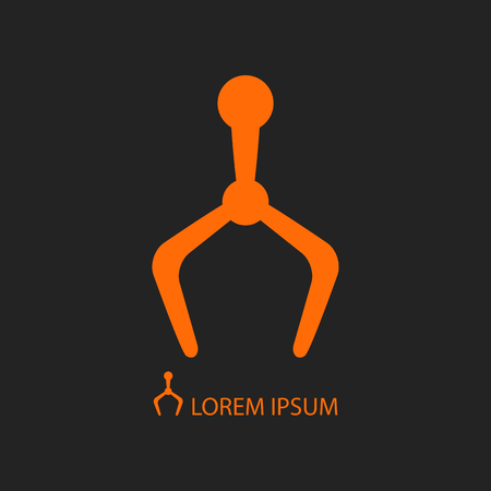 tooling: Orange mechanical hand, robot industry logo on black background