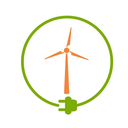 Windmill in a circle with plug as symbol of eco-friendly energy source