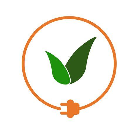 Green leaves in a circle with plug as symbol of eco-friendly energy source