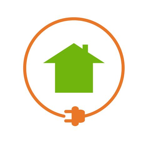 House In The Circle With Plug, Electricity Supply. Orange Sign ...
