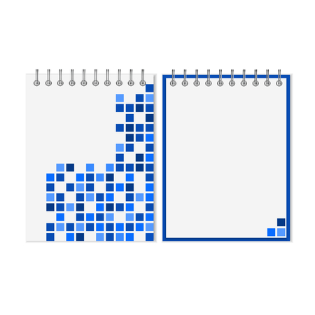 spiral notebook: Spiral notebook with blue geometric pattern on cover