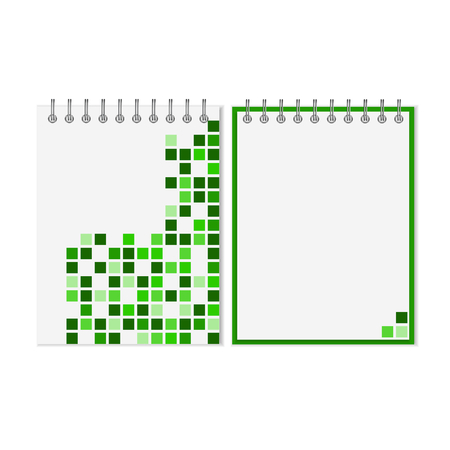 spiral notebook: Spiral notebook with green geometric pattern on cover Illustration