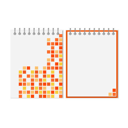 notebook cover: Spiral notebook with orange geometric pattern on cover
