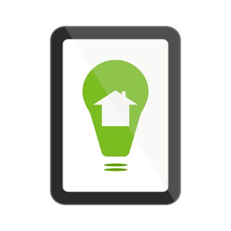 Digital tablet with green smart house icon