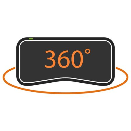 virtual reality simulator: 360 degrees virtual reality icon in orange and black colors