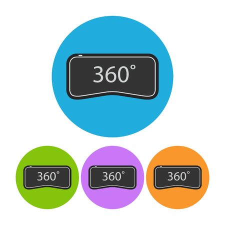 virtual reality simulator: 360 degrees virtual reality. Set of colorful round flat icons