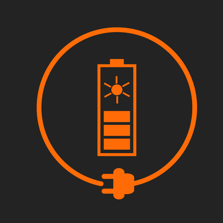 orange sign: Solar battery in a circle with plug as symbol of eco-friendly energy source. Orange sign on black background