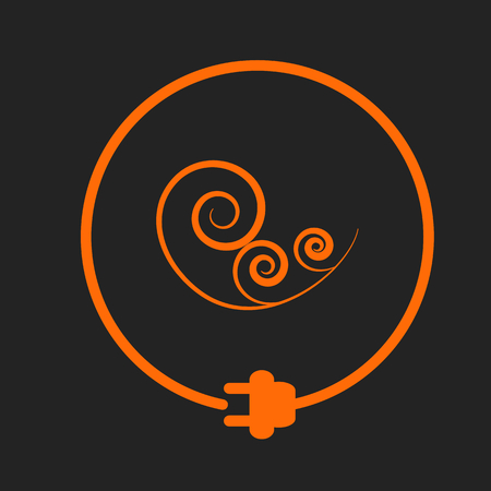 Wind sign in a circle with plug as symbol of eco-friendly energy source. Orange sign on black background