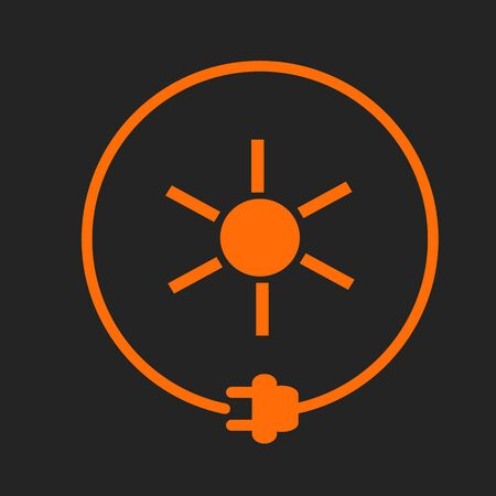 Sun in a circle with plug as symbol of eco-friendly energy source. Orange sign on black background Stock Illustratie