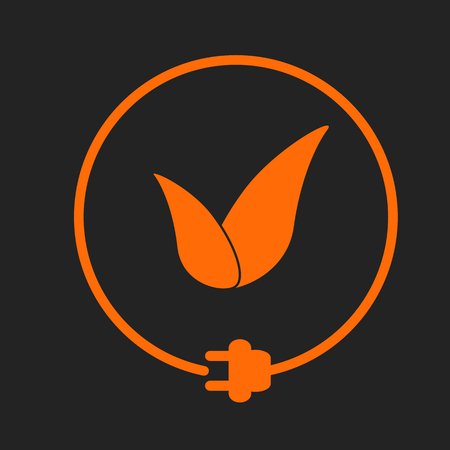 Leaves in a circle with plug as symbol of eco-friendly energy source. Orange sign on black background