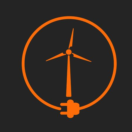 orange sign: Windmill in a circle with plug as symbol of eco-friendly energy source. Orange sign on black background