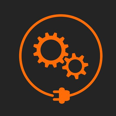 Gears in the circle with plug, electricity maintenance. Orange sign on black background Stock Illustratie
