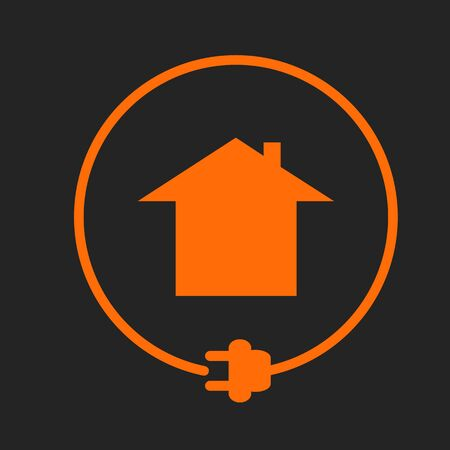 House in the circle with plug, electricity supply. Orange sign on black background