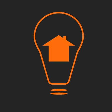 Electricity supply sign or smart house icon. Orange sign on black background Illustration