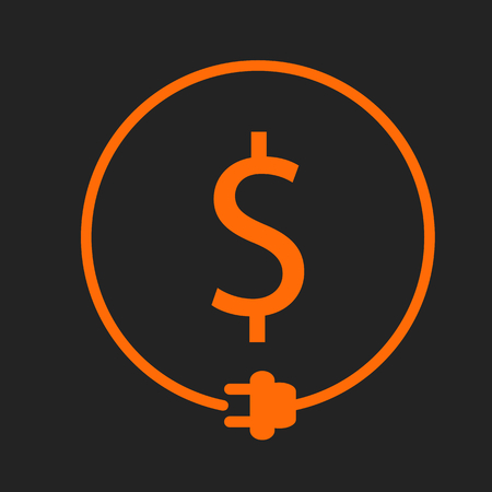 Money saving for electricity. Dollar sign in the circle with plug. Orange sign on black background
