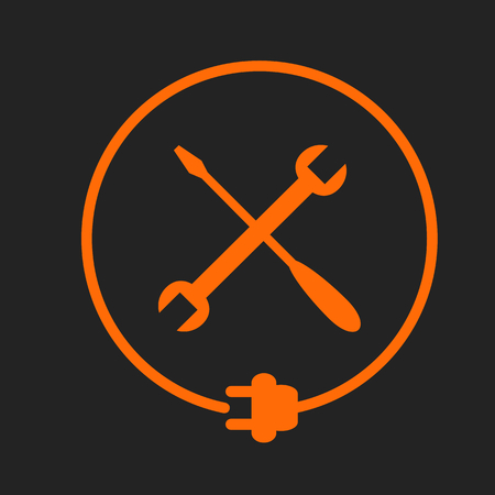 Crossed tools in the circle with plug, electricity maintenance. Orange sign on black background