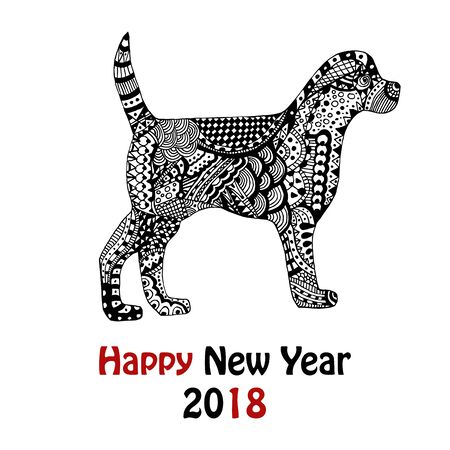 New Year 2018 card with zentangle inspired handdrawn dog in black and white