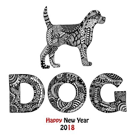 New Year 2018 card with zentangle inspired handdrawn dog and text in black and white Stock Illustratie