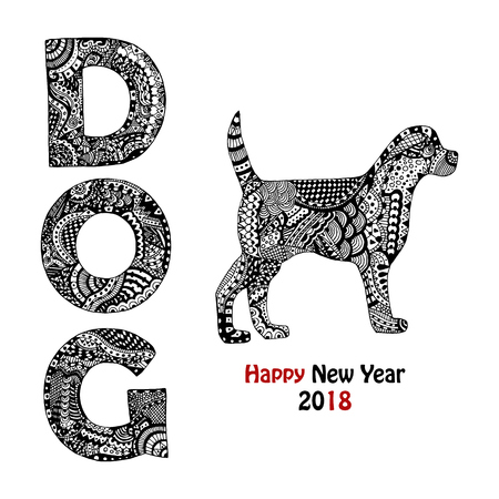 Zentangle insipred dog text and animal. Handdrawn elements for New year card 2018