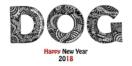 Handdrawn zentangle inspired dog text. Word with unique pattern in black and white. New Year 2018